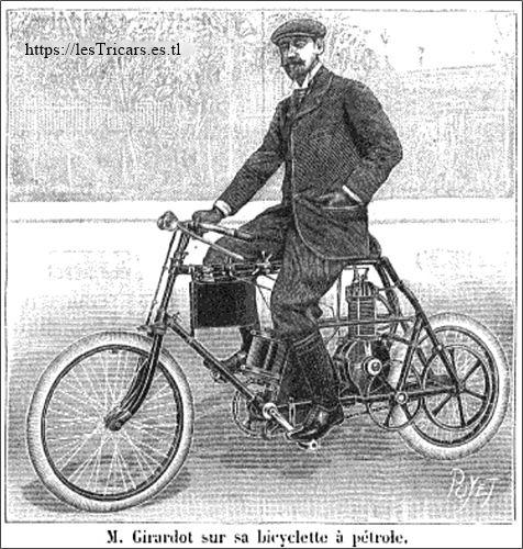 1899 Girardot sur sa bicyclette à pétrole