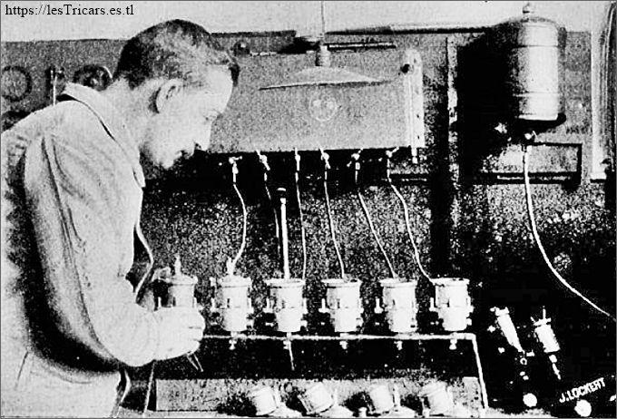 Ateliers Longuemare, essais des pointeaux des carburateurs