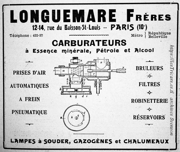1907, publicité pour les carburateurs Longuemare
