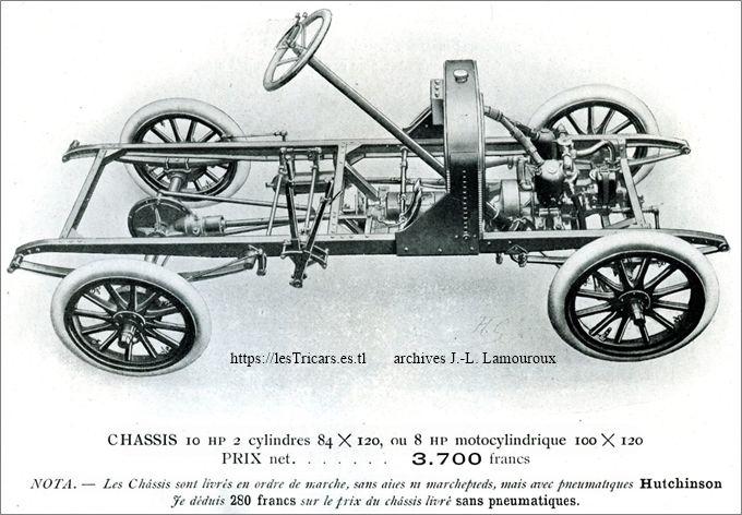 Lurquin & Coudert, voiturette 1908, le châssis