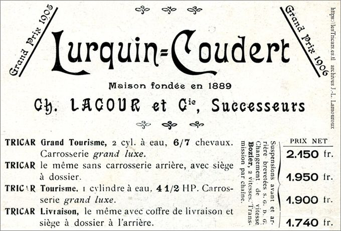 Lurquin et Coudert, Lacour successeur. En-tête d'un dépliant