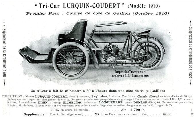 Lurquin & Coudert, tricar 1910