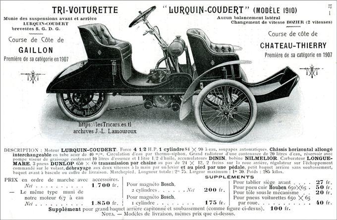 Lurquin & Coudert Trivoiturette de tourisme 1908
