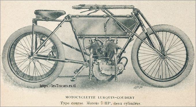 une moto de course Lurquin-Coudert, 1911