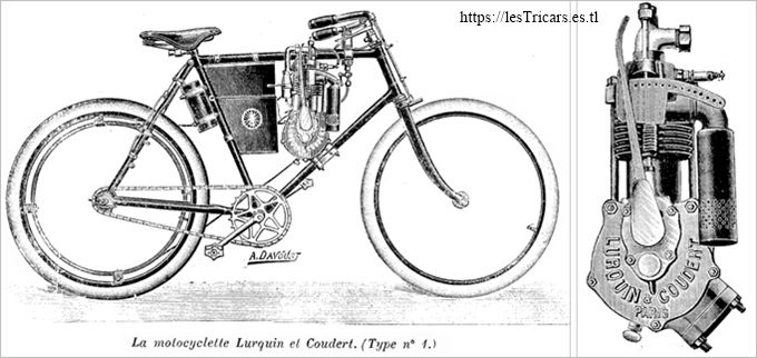 dessin: motocyclette Lurquin & Coudert type no. 1 et son moteur