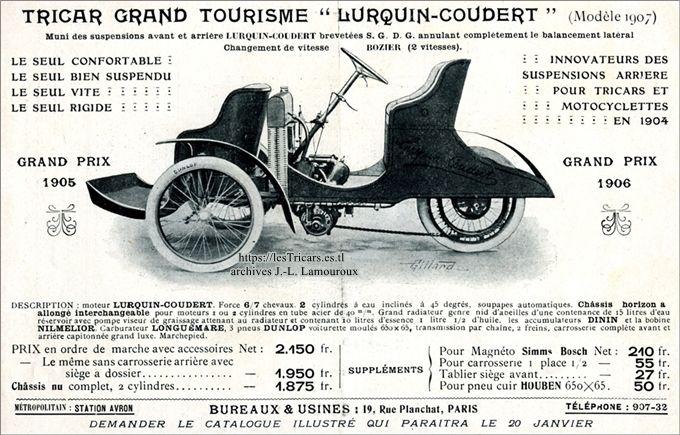 Trivoiturette Lurquin et Coudert 1907