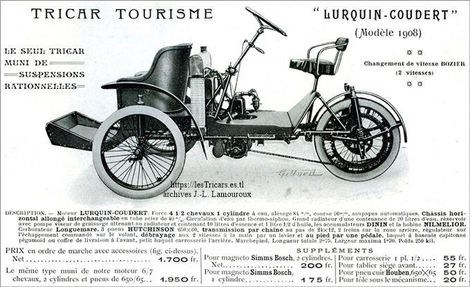 Tricar de tourisme Lurquin & Coudert, 1908