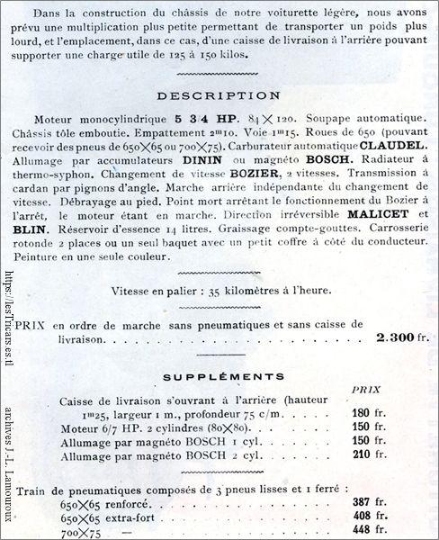 description de la voiturette de livraison 1911