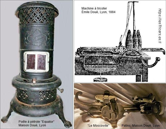 """Trois produits de la maison Doué, Lyon: machine à tricoter, le poêle """"Équator"""", patins """"Le Moscowite""""."""