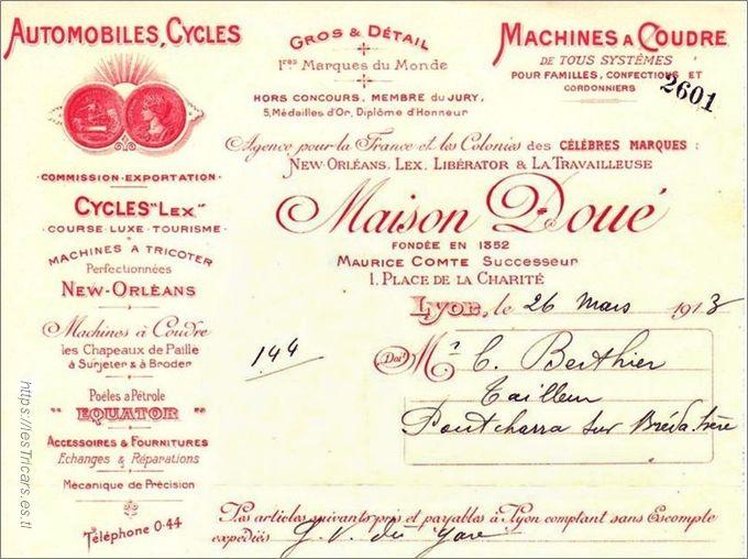 facture de la maison Doué, Maurice Lecomte, successeur. 1913