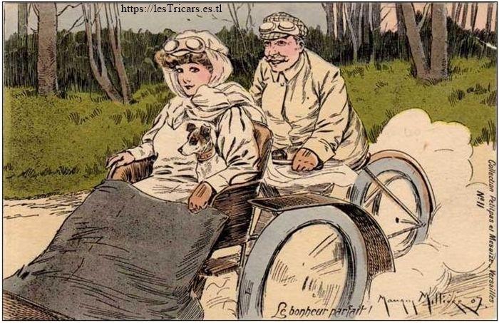 Tricar avec conducteur et passagère, 1907, dessin par Maurice Millière