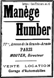 publicité de la manège Humber, directeur Mouter