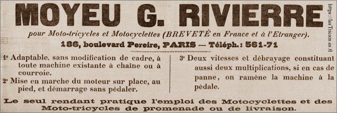 publicité de 1904: Moyeu rivierre pour moto-tricycles et Motocyclettes