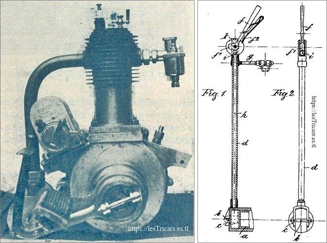 moteur Lurquin-Coudert et levier de commande de la poulie Kupke / NSU