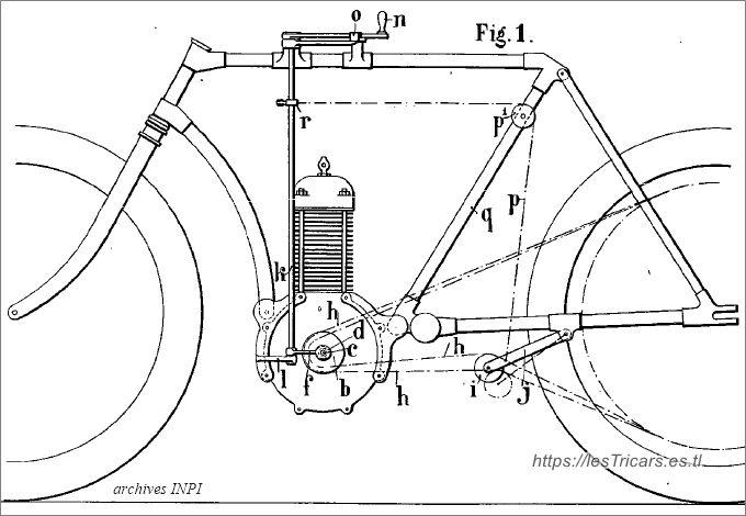 Pierre Ligez, changement de vitesse, dessin du brevet 1904