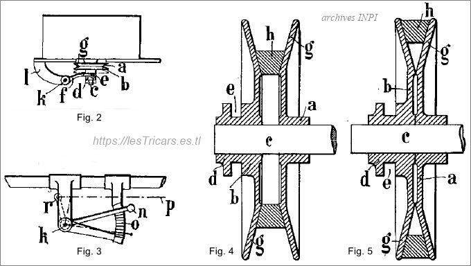 Pierre Ligez, changement de vitesse, dessin du brevet 1904, détails