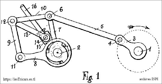 changement progressif par manivelle... brevet Rivierre 1907, dessin