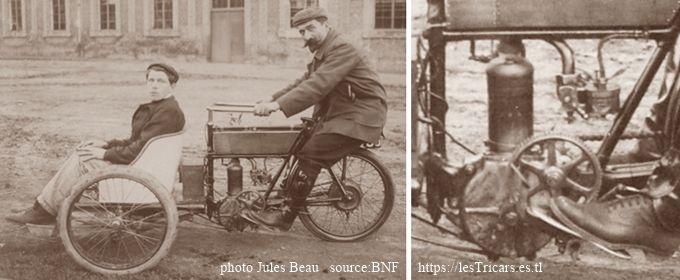Rivierre sur mototri Contal 1905 et détail pignon réducteur