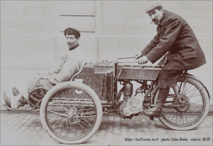 Rivierre et Foucault sur tricar Contal, Tour de France automobile 1906