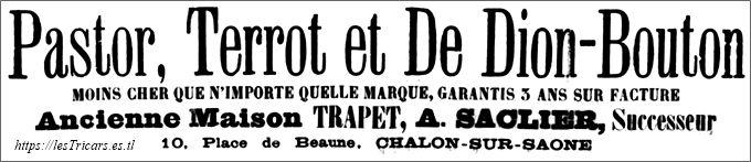 annonce magasin de bicyclettes Alphonse Saclier 1911
