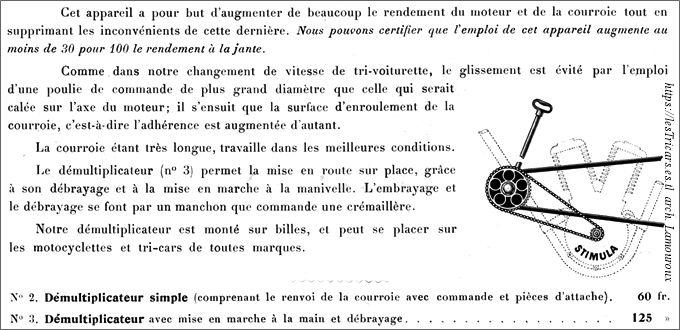 démultiplicateur Stimula, 1906