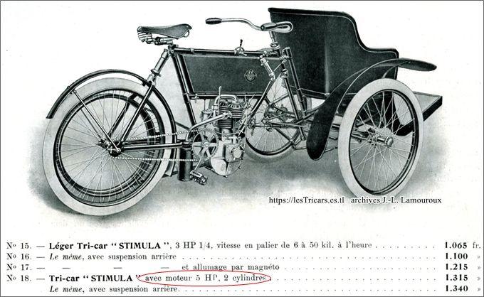 tricar léger Stimula, page catalogue avec mention du moteur 5 hp