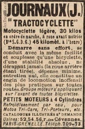 réclame de 1907 pour la Tractocyclette Journaux