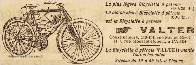 Bicyclette à pétrole Valter, 1901