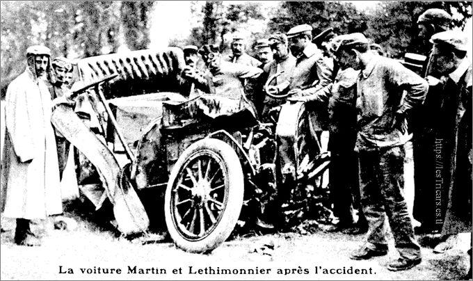 La voiture Martin et Lethimonnier accidentée près de Pompignac, 1907