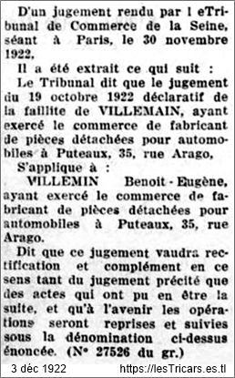 faillite de Benoît-Eugène Villemain, 1922