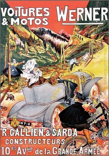 affiche Gallien et Sarda, voitures et motos Werner