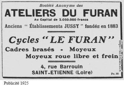 SAF - Société anonyme des Ateliers du Furan, encart publicitaire