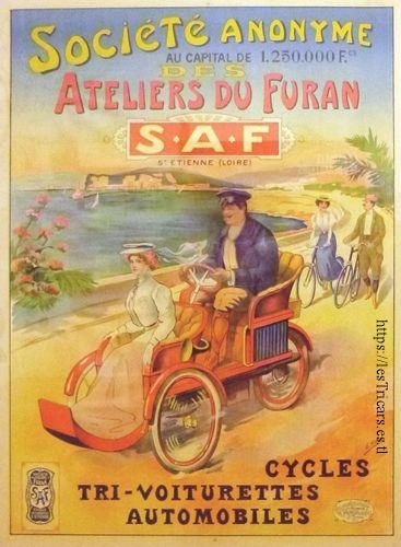 SAF - Société anonyme des Ateliers du Furan, affiche en couleur 1907