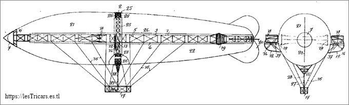 1909, ballon dirigeable Contal, dessin du brevet