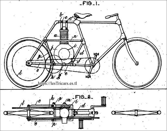 motocyclette 1898, brevetée par Girardot et Rivierre. Dessin