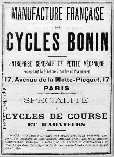 Bonin, l'une des premières publicités, 1903