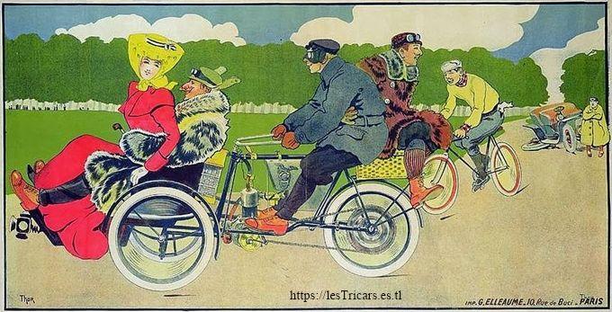 dessin humoristique par Walter Thor montrant un tricar Griffon et ses passagers