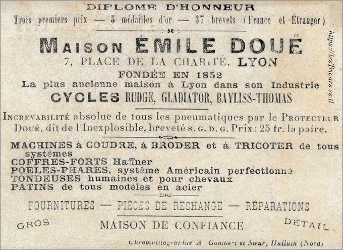 encart publicitaire de la maison Emile Doué, Lyon, avant 1900