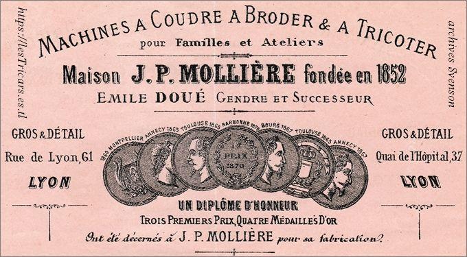 Facture de la maison J.P.Mollière, successeur Émile Doué, Lyon 1873