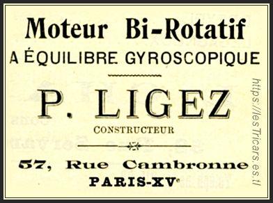 Ligez, publicité pour le moteur bi-rotatif, 1911