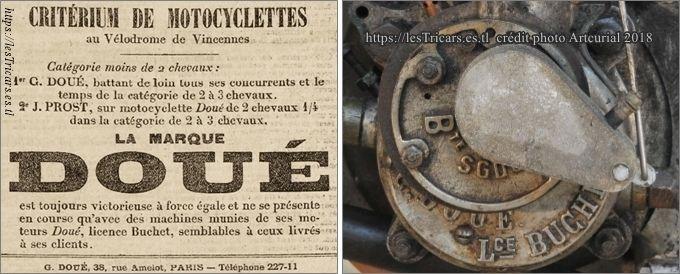 moteur Doué licence Buchet, réclame et photo d'un carter, 1903