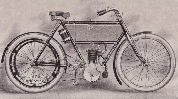 moto Werner, monocylindre 2 HP 1/2 à soupapes commandées, 1904