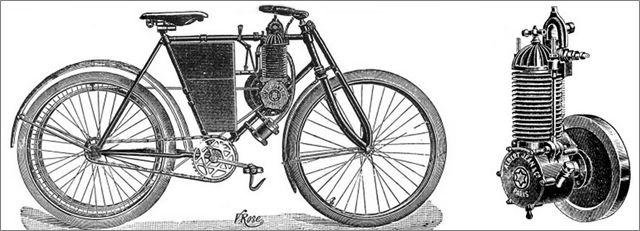"motocyclette ""Albert Jean"" et son moteur, environ 1900."