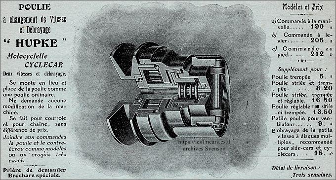 Kupke, poulie à changement de vitesse et débrayage, 1914, catalogue Thunn