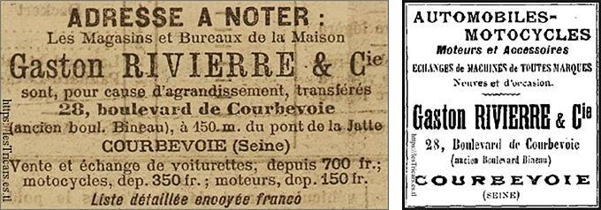 1901, publicité pour la société Gaston Rivierre & Cie