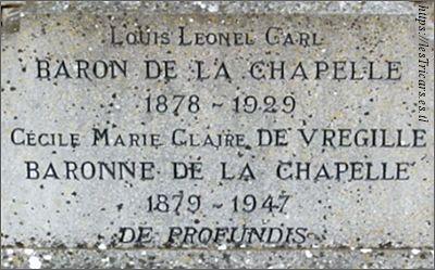 Carl de la Chapelle, tombe