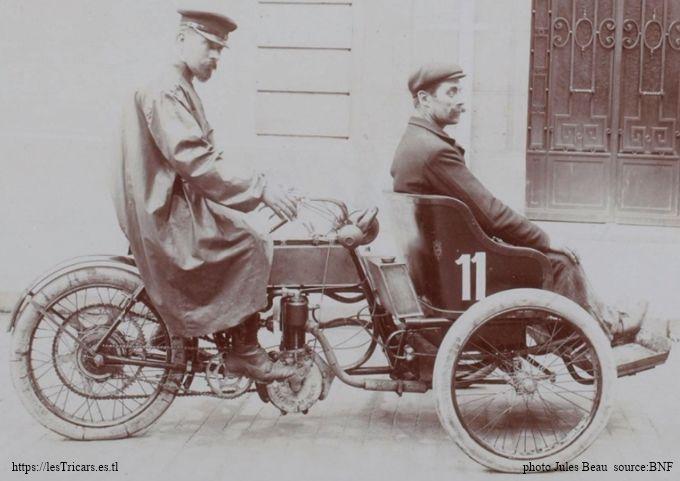 Tour de France 1906: Eugène-Benoît Villemain au guidon d'un tricar Chanon