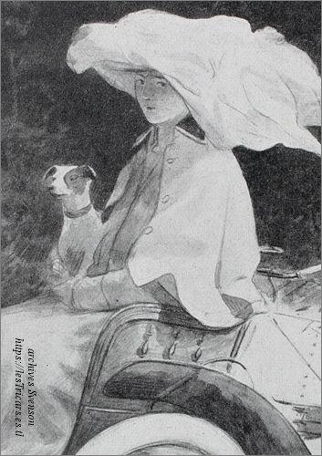 dessin d'une femme avec chien sur un tricar