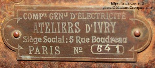 Ateliers d'Ivry, châssis d'une voiturette type F dans une collection privée