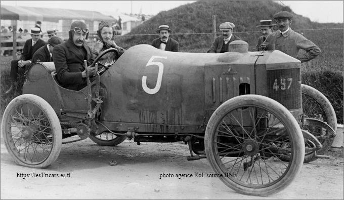 Maurice Fournier sur voiturette Werner à Boulogne-sur-Mer en 1909
